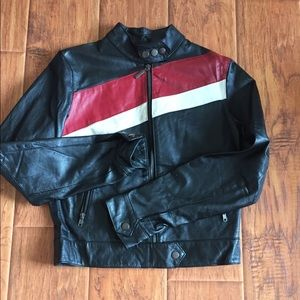 Jackets & Blazers - Vintage 100% leather jacket red and white stripes